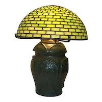 Tiffany Table Lamp with Grueby Pottery Base