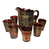 Northwood Carnival Glass Amethyst Beverage Set Grape and Cable