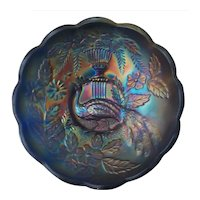Northwood Blue Carnival Glass Peacock at Urn Sauce Bowl