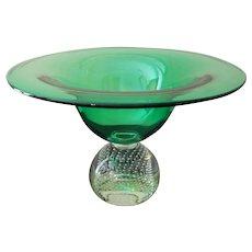 """Pairpoint  Erickson Green Glass Centerpiece Bowl 7 1/2"""" Tall"""