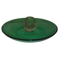 Pairpoint Carl Erickson Green Glass Controlled Bubble Tray