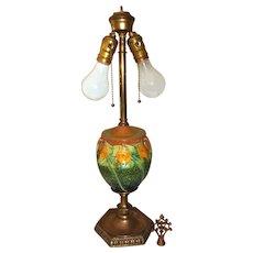 """Roseville Pottery Sunflower Table Lamp 23 1/2"""" Tall"""