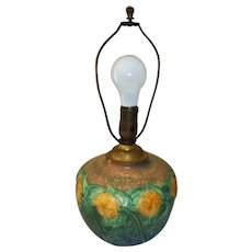 "Roseville Pottery Sunflower Table Lamp  161/2"" Tall"