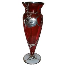 "Art Nouveau Cranberry Glass Silver Overlay Vase   12"" Tall"