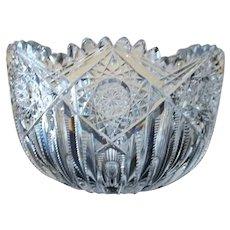 "Hoare Brilliant Cut Glass Bowl  Hindoo Pattern  5 "" Tall"