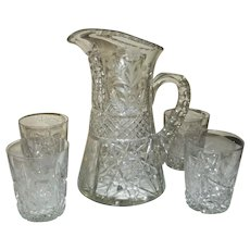 Tuthill Brilliant Cut Glass Crystal Pitcher / Water Set w Four Tumblers