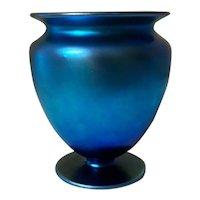 "Steuben Blue Glass Aurene Footed Vase  5"" Tall"