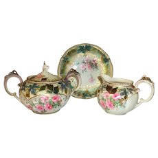 R S Prussia Sugar Creamer and Saucer Floral