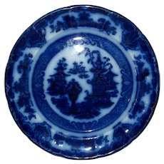 """Pearl Stone  Ware Flow Blue Plate  Temple Pattern  9 3/4"""""""