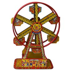 "J Chein Toy Wind Up Ferris Wheel with Hercules   16 1/2"" Tall"
