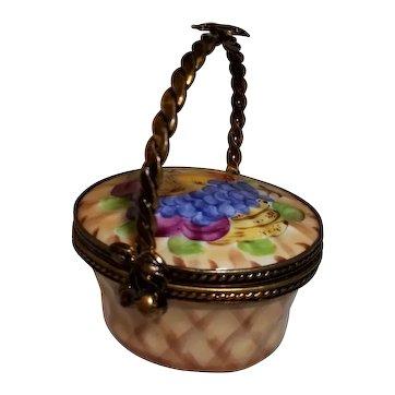 Limoges  Signed Trinket Box Fruit Basket.