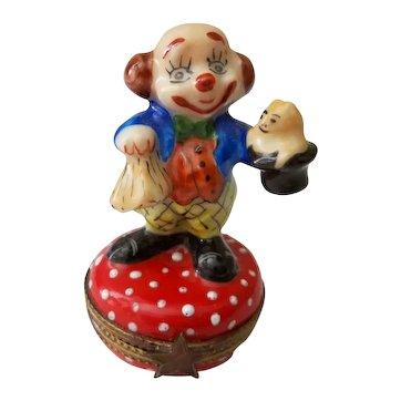 Limoges France signed Clown Trinket Box
