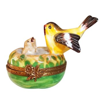 Limoges France Bird Nest Trinket Box