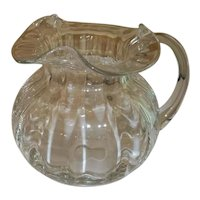"""Tiffany and Co. Crystal Pitcher Devon Pattern  6 1/2"""" Tall"""