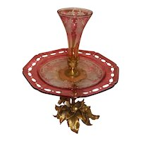 """Bronze and Cranberry Glass Cut to Clear Epergne  15 1/2"""" Tall"""