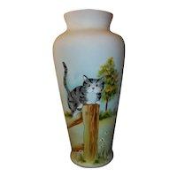 "Fenton Art Glass Vase  Cat on Fence  Signed  10 1/2"" Tall"