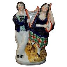 "Staffordshire Figurine  Man Woman Musical Couple   8"" Tall"