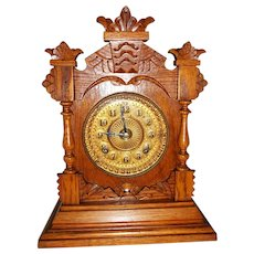 "Ansonia Oak Mantle / Bracket  Clock 14 1/2"" Tall  8 Day"