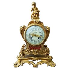 Planchon France Gilt Mantle Clock w Cherub