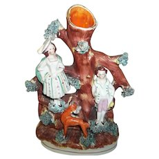 """Staffordshire Vase with Man Woman and a Deer   7"""""""
