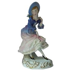 """Crown Staffordshire Figurine Woman and Basket of Flowers  8 1/2"""" Tall"""