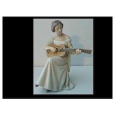 "Bing and Grondahl  Woman and Guitar Figurine 10"" Tall  1684"