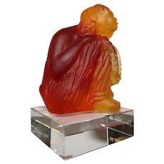 Daum Art Glass Tanagra Ambre Figurine with Original Box