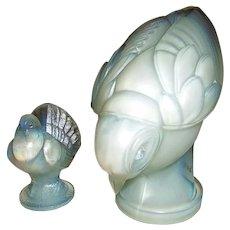 Sabino Art Glass  Two Opalescent Bird Figurines