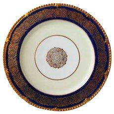 "Paragon Cobalt and Gold Queen Elizabeth Dinner Plate 10 1/2"""
