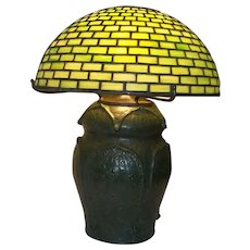 """Tiffany and Gouda Pottery Table Lamp   15 1/2"""" Tall"""