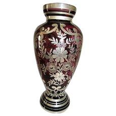 Murano Argento Silver Overlay Amethyst Glass Vase