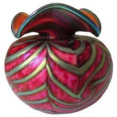 "Daniel Lotton Art Glass Coral Vase  4 1/2"" Tall"