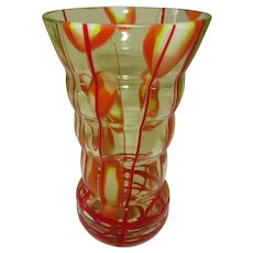 """Czech Kralik Uranium Glass Tumbler  5 1/2"""" Tall"""