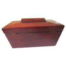 Mahogany Tea Caddy w Double Compartment