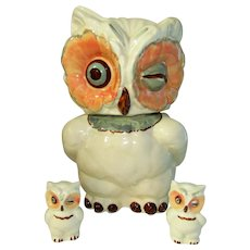 Shawnee Pottery Winking Owl Cookie Jar with Salt and Pepper