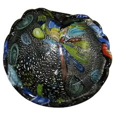 Murano Black Tutti Frutti Bowl with Silver  5""