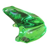 """Baccarat Green Crystal Frog Paperweight  2 7/8"""" Tall"""