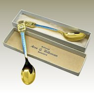 Arne G. Hakonsen Sterling Silver Guilloche Enamel Demitasse Souvenir Spoons. Norway.