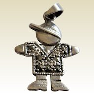 Sterling Silver 925 Marcasite -Boy with Baseball Cap Charm/Pendant.