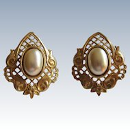 Miriam Haskell Signed Clip Back Faux Pearl Earrings