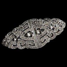 Art Deco Rhinestone Duette Brooch- Fur Clips- John Fielding 1934 - Red Tag Sale Item