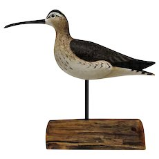 Signed Anthony Hillman Shore-Bird Decoy Carving- Whimbrel-Sold