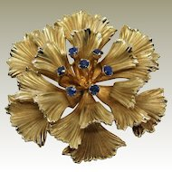 Danecraft Signed Gold Filled Sapphire Gemstone Flower Brooch