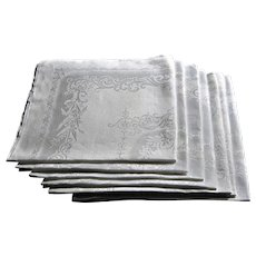 Set Of Seven White Linen Double Damask Formal Table Napkins. 22'' x22''.