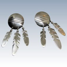 Tracey Knifewing Navajo Sterling Silver Shield and Feather Earrings.
