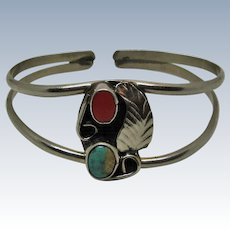 Native American Navajo 925 Sterling Silver Child's Turquoise/Coral Bracelet
