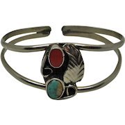 Native American Navajo Sterling Silver Child's Turquoise/Coral Bracelet