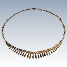 14K Yellow Gold Graduating Cleopatra Style Necklace- Italy