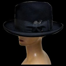 Flaisher's Royal Homburg Black Fur Felt Godfather Hat-Pristine.