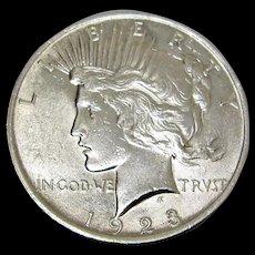 1923 - Silver Peace Dollar.
